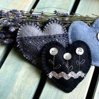 Wool felt heart ornaments  with button flowers and lace set of 3 black grey silver Wedding decor Christmas ornament Birthday gift home decor
