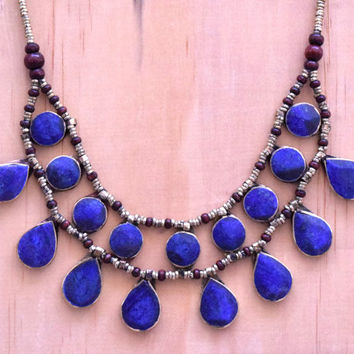Cassidy Bib Necklace,Afghan Kuchi Blue Lapis Necklace,Kuchi Jewelry,2 Strand,Bohemian,Hippie,Ethnic Necklace,Festival,Boho Gypsy Necklace