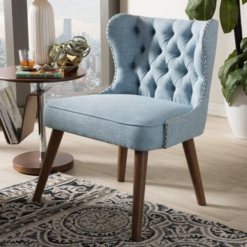 Baxton Studio Scarlett Mid-Century Modern Brown Wood and Light Blue Fabric Upholstered Button-Tufting with Nail Heads Trim 1-Seater Accent Chair Set of 1