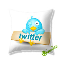 Bird Twitter Logo Square Pillow Cover