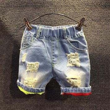 Hot sale 2017 children summer shorts jeans Boys new casual color ripped holes denim shorts pants 2-7 years !