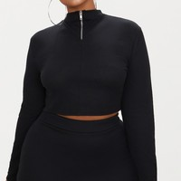 Plus Black Ribbed Zip Detail Crop Top