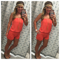 Dream Come True Romper: Coral