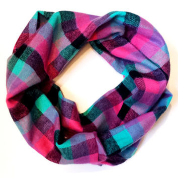 Bright Pink & Aqua Plaid Toddler Tube Scarf Childrens Plaid Infinity Scarves for Babies Kids Circle Scarf Girls Scarves Plaid Baby Scarf