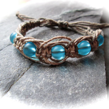 Aquamarine Hemp Bracelet - Natural Ombre Hemp - Adjustable Size - Unisex Boho Hippie Bracelet - Rustic Earthy Macramé Knotted Bracelet - UK