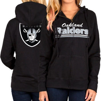 Oakland Raiders Women's Full Zip Hoodie – Black