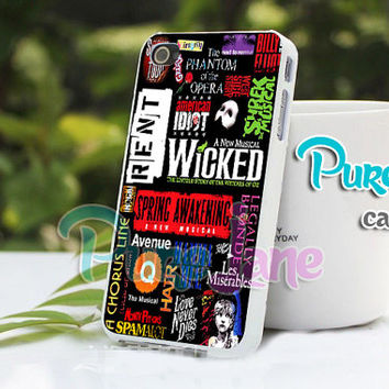 Broadway Musical Collage - for case iPhone 4/4s/5/5c/5s-Samsung Galaxy S2 i9100/S3/S4/Note 3-iPod 2/4/5-Htc one-Htc One X-BB Z10