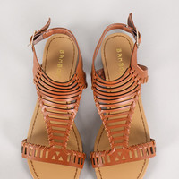 Bamboo Josalyn-11 Interwoven Open Toe Flat Sandal