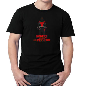 Honey, I Shrunk The Superhero Mens T-shirt Black and White