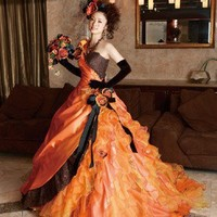 Orange and Black Gothic Wedding Dress by weddingdressfantasy