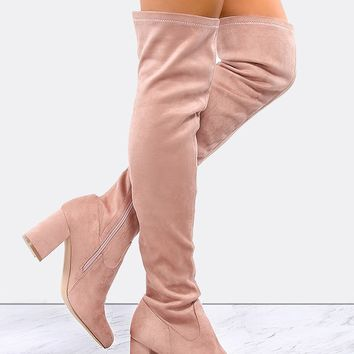 Almond Toe Suede Tall Boots MAUVE