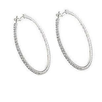 1 Pair Simple Sweet Diamante Rhinestone Big Circle Earrings Girl Women Fashion Jewelry Gift