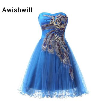 New Arrival Homecoming Cocktail Dresses 2018 Sweetheart Backless Prom Dress Party Dress Short Mini Blue Robe De Cocktail Gowns