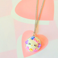 Kawaii Hello kitty cameo pendant - Fairy kei jewelry - sweet lolita - pastel goth - cute charm necklace