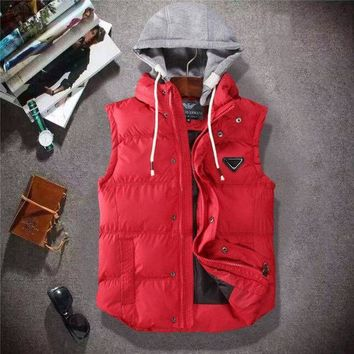 DCCKGSQ armani women or men fashion casual sleeveless hooded cardigan jacket coat windbreaker