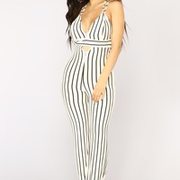 Did It Again Jumpsuit - Ivory/Black