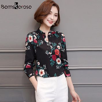 Bamskarosa White Print Women Blouse 2018 New Spring Long Sleeve Elegant Stand Collar Loose Casual Shirt Chiffon Women Tops