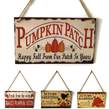 1pc Vintage Autumn Harvest Wooden Board Thanksgiving Letter Pumpkin Hanging Sign Creative Retro Wall Signs for Home Door Decor