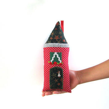 Christmas handmade stuffed house,Fairy Pillow House,Stuffed Toy,Fairy Cottage,Boys,Girls,Children, patchwork, red, green