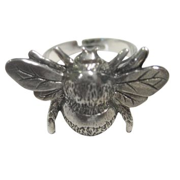 Silver Toned Bumble Bee Bug Insect Adjustable Size Fashion Ring