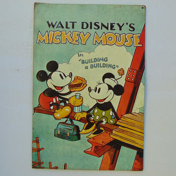 Walt Disney Mickey Mouse in Building a Building Metal Tin Home Decor Sign