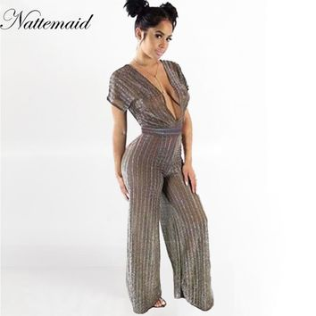 NATTEMAID Women Sexy Backless Hollow Out Deep v neck Wide Leg Jumpsuit Ladies Sleeveless Jumpsuit Bodycon Playsuits 2017 Summer