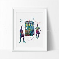Tardis 2, Doctor Who Watercolor Art Print