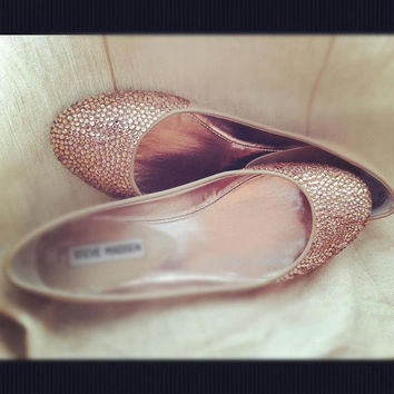 Champagne wedding shoes, ballet flats, Custom swarovski bridal shoes,