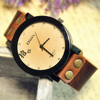 Wrist watch Handmade Wristwatches Vintage Ladies Girls Womens Mens Leather Bangle Bracelet Quartz (WAT0003)