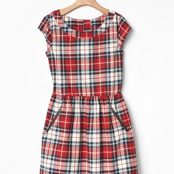 Gap Girls Plaid Zip Pocket Dress