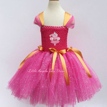 Peppa Pig Baby Girls Dress, Pink Glitter Tulle Tutu Skirt, Toddler Princess Gown, Fancy Dress Costume, Tutu Dress with Lined Top