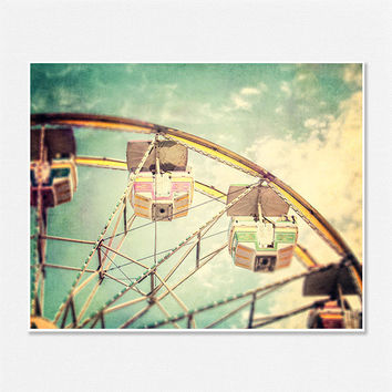 Carnival Decor Circus Pictures Ferris Wheel Nursery Decor Mint Children's Room Art - 8x10 - Retro Fair Photo Print Yellow Aqua Teal.