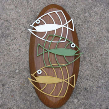 Vintage 1950s 60s Styled Retro Mid Century Fish Wall Art Repurposed Upcycled