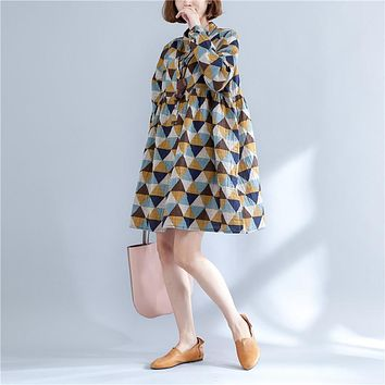Spring Autumn New Japan Fashion Mori Girl Dress 2017 Women Preppy Long Sleeve Diamond Print Cotton Linen Dress Robe Vestidos