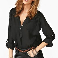 Raquel Button Blouse - Black