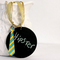 Neon Tie Necklace with Circle Chalkboard