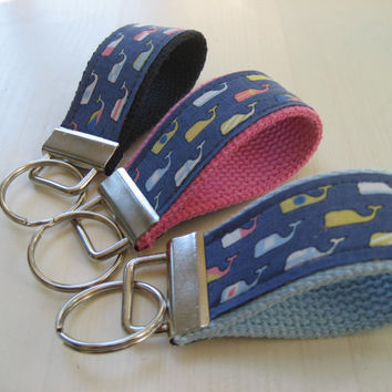 Preppy Vineyard Vines Whales fabric keychain key fob key wristlet - TWO sizes available