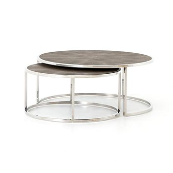 BLOSSOM NESTING COFFEE TABLE-STAINLESS STEEL