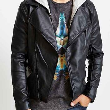 Charles & 1/2 Zip-In Hoodie Faux Leather Moto Jacket-