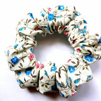 Scrunchie, Patterned White Floral Scrunchie, Blue Flowers Cotton Scrunchie, Hair Accessory