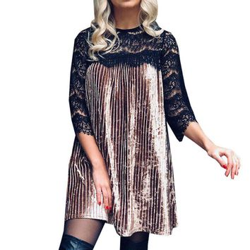 Dresses Lace For Women Vestidos Night Club Clothing Sexy Velvet Tunic 2019 Spring Casual Pleated Party Women's Dress designer clothes