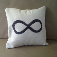 Infinite #Infinity Pillow Sham/Cover Creamy White with Black Handpainted #onsale #sale now through July 21st