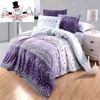 Purple Snowflake Floral Bedding Set and Quilt Cover