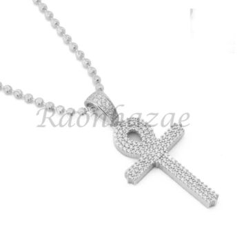 Sterling Silver .925 AAA Lab Diamond Bling Ankh Cross w/2.5mm Moon Cut Chain S53