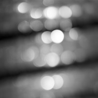 Abstract Black and White Photography - Grey Photo Art Print - Modern Minimalist Fine Art Photography - Bokeh City Lights