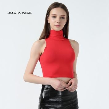 Women Classic Street Style Slim Fit Tube Top Casual brand designer Turtle neck sleeveless Short Tank Crop tops