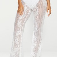 White Lace Insert Beach Flares