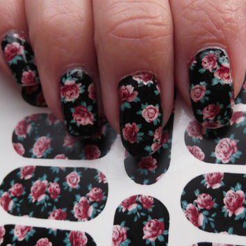 Free Shipping - PINK ROSES Nail Art on Black (PRB) Full Nail Wrap Waterslide Decals - Not stickers or vinyl