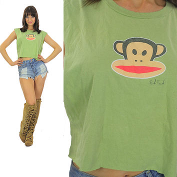 Monkey shirt Paul Frank shirt Cut off shirt Crop top Cropped tee Cotton tee Green shirt Animal shirt Retro shirt Animated shirt Large shirt