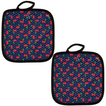 PEAPGQ9 Fruit Cherry Cherries Repeat Pattern All Over Pot Holder (Set of 2)